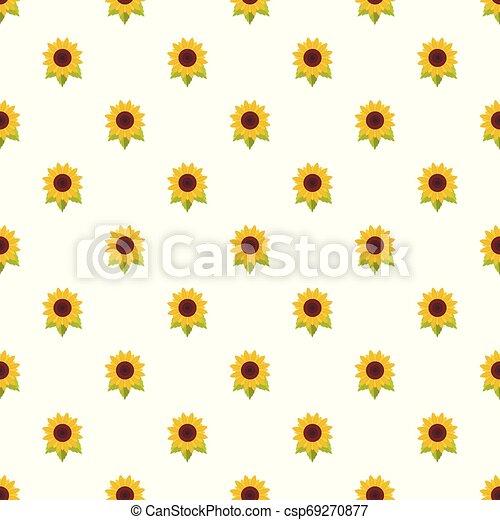 Natural sunflower pattern seamless vector - csp69270877