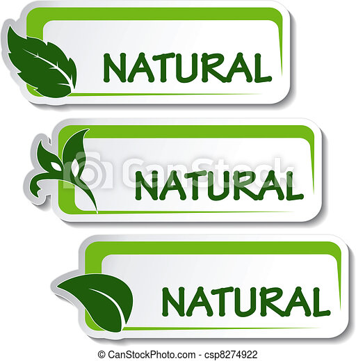 natural, vector, pegatinas, hoja - csp8274922