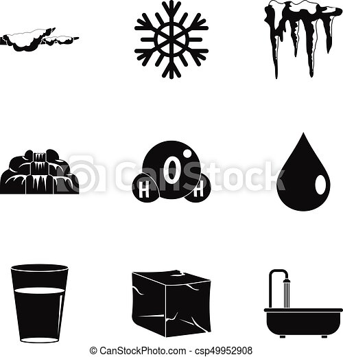 Natural water form icon set, simple style