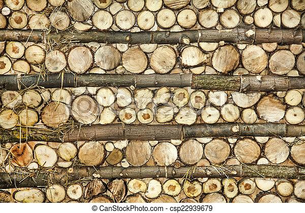 Natural wood log background - csp22939679