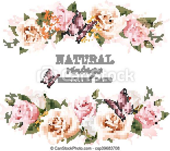 naturale, vendemmia, augurio, roses., vector., scheda - csp39683708
