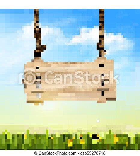 El fondo de la naturaleza primaveral con hierba verde y signo de madera. Vector - csp55278718