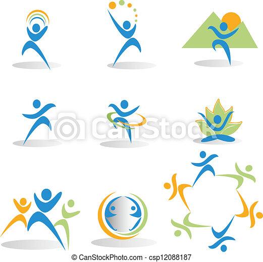 naturaleza, salud, yoga, iconos - csp12088187