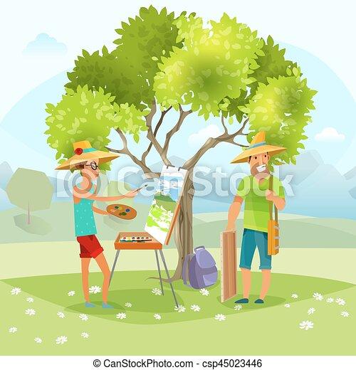 Nature Artist Painting Landscape Vector Illustration - csp45023446