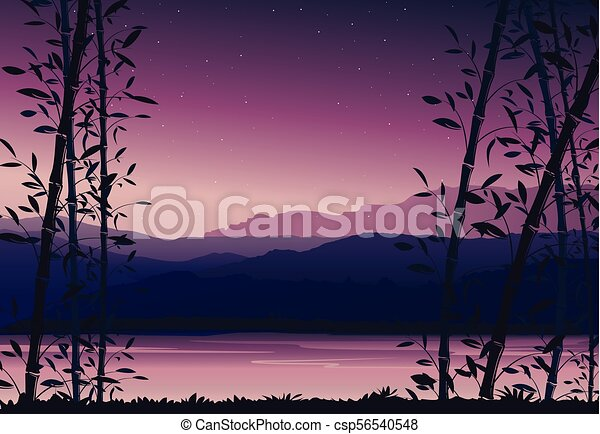 Nature Background With Bamboo Colorful Sunset Scenery Landscape Wallpaper Vector Illustration