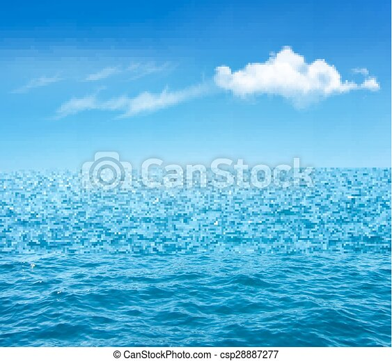 Nature Background With Blue Sea And Blue Sky With Clouds. Vector - csp28887277