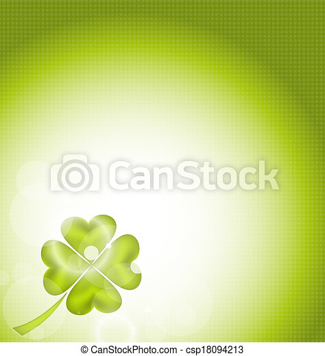 Nature background with four-leaf clover for St. Patrick's Day - csp18094213