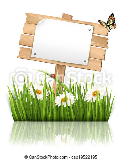 Nature background with grass and sign and a paper. Vector. - csp19522195