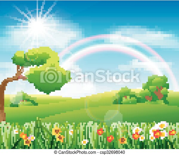 Nature background with green grass - csp32698040
