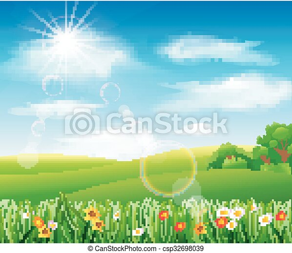 Nature background with green grass - csp32698039
