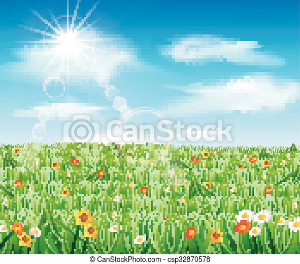 Nature background with green grass  - csp32870578