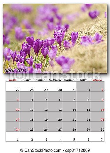 nature calendar april - csp31712869