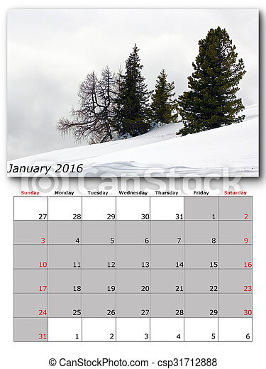 nature calendar january - csp31712888