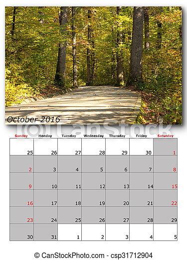 nature calendar october - csp31712904