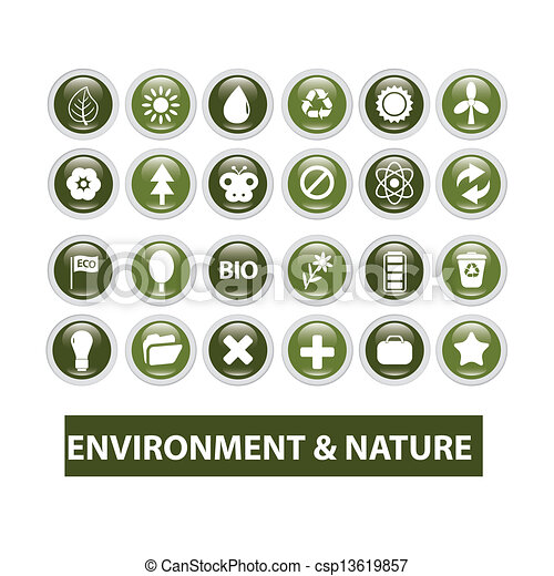 nature, ecology glossy buttons set, vector - csp13619857