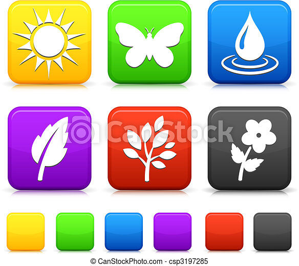 Nature Environment icons on square internet buttons - csp3197285
