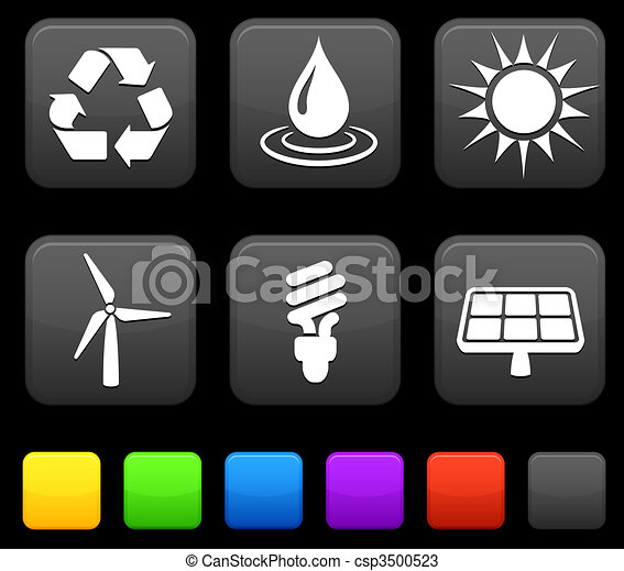 Nature Environment icons on square internet buttons - csp3500523