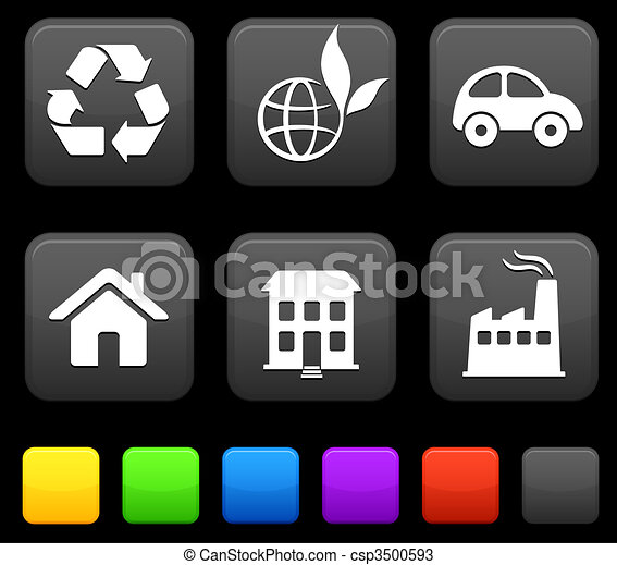 Nature Environment icons on square internet buttons - csp3500593