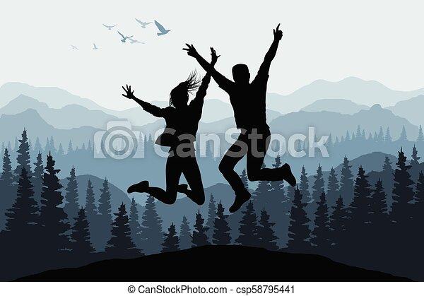 nature, gens, illustration, silhouettes, sauter, forêt, fond, heureux - csp58795441