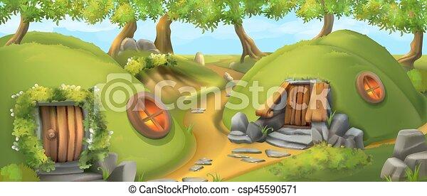 nature, house., illustration, conte, vecteur, village., lutin, fée, paysage - csp45590571