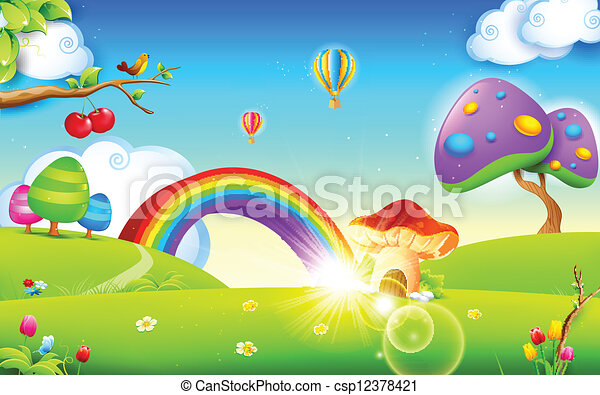 nature in spring season illustration of mushroom homes in spring rh canstockphoto com First Day of Spring Clip Art spring season clipart png
