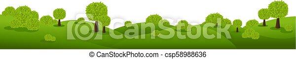 nature, isolé, arrière-plan vert, blanc, paysage - csp58988636