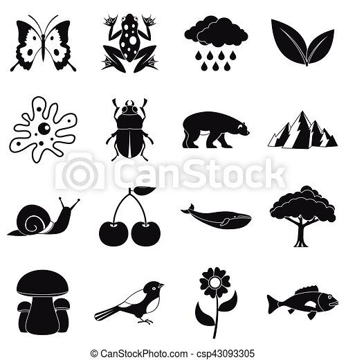 Nature items icons set, simple style - csp43093305