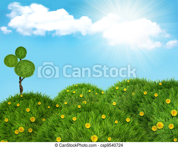 Nature  landscape background with green grass hills and sun.  - csp9540724