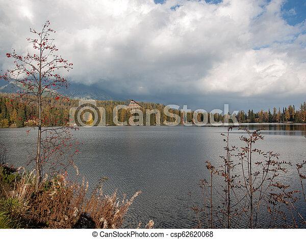 Nature mountain scene with beautiful lake in Slovakia Tatra - Strbske pleso - csp62620068
