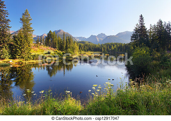Nature mountain scene with beautiful lake in Slovakia Tatra - Strbske pleso - csp12917047