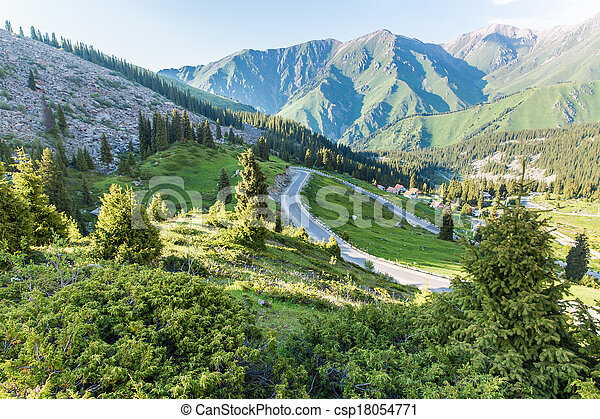 Nature near Big Almaty Lake, Tien Shan Mountains in Almaty, Kazakhstan,Asia at summer - csp18054771