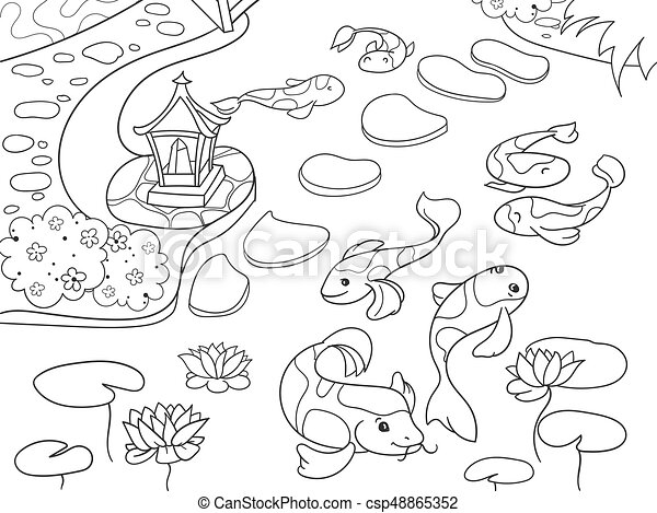 Nature Of Japan Coloring Book For Children Cartoon Japanese Garden Vector Illustration