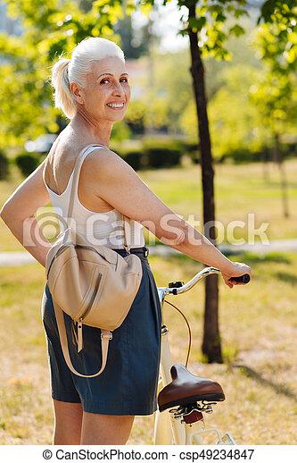 nature, positif, enchanté, personne, femme, aimer - csp49234847