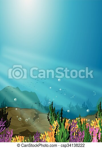 Nature scene under the sea with coral reef - csp34138222
