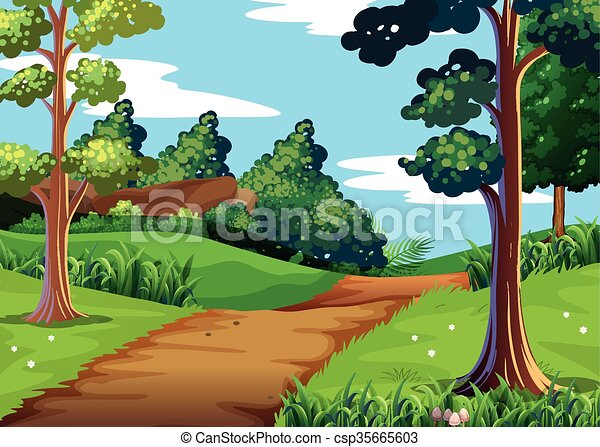 nature scene with forest and walking trail illustration vector rh canstockphoto com clipart forest background clipart forest black and white