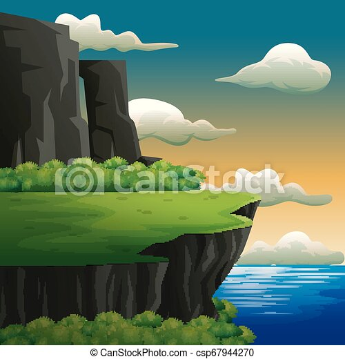 Nature scene with high cliff on the seafront - csp67944270