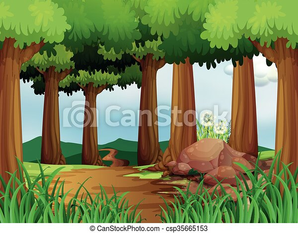 nature scene with hiking track in the forest illustration rh canstockphoto com clipart forest black and white clipart forest trees