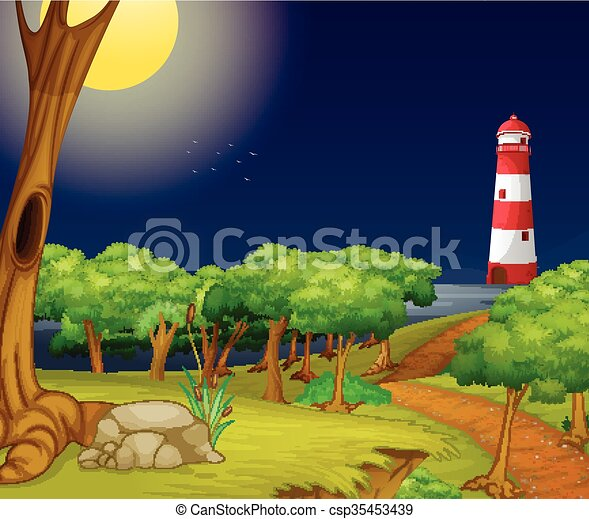 Nature scene with lighthouse at night - csp35453439