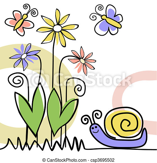 Nature scene with snail - csp3695502