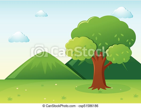 Nature scene with tree in park - csp51586186