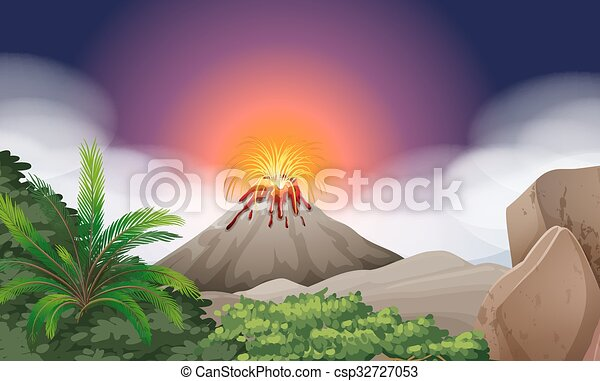 Nature scene with volcano eruption illustration.