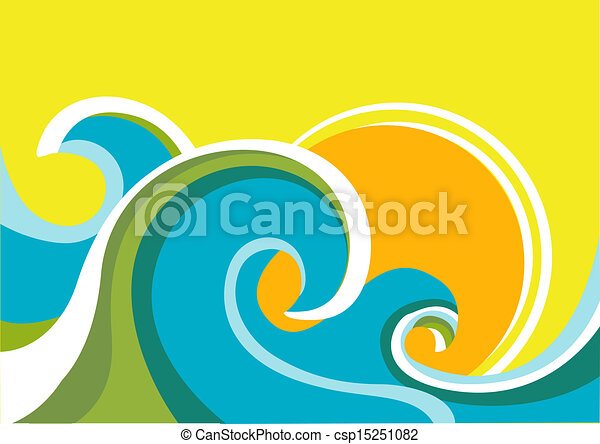 Nature seascape poster with sea waves and sun.Vector color background - csp15251082
