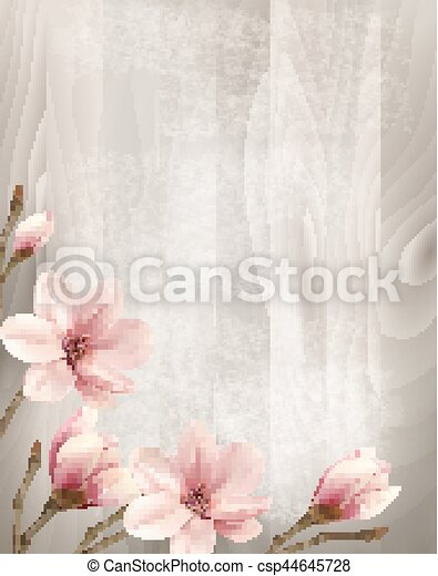 Nature Spring Background With Beautiful Magnolia Branches On Wooden Sign Vector