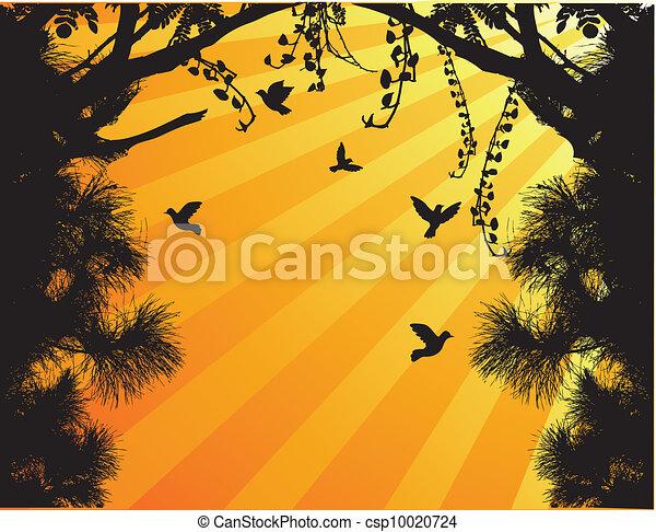 Nature Tree Silhouette With Bird Fl - csp10020724