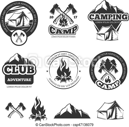 Summer camp place promotional logotypes with tent illustrations ...