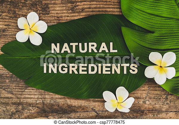 naturel, feuille, industrie, message, produits, beauté, vegan, ingrédients, monoi, banane, fleurs, éthique, exotique - csp77778475