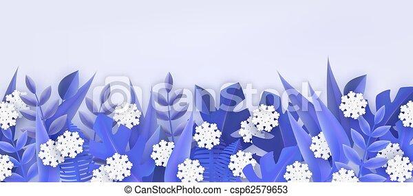 naturel, hiver, snowflakes., cadre, arbre, illustration, vecteur, frontière, feuilles - csp62579653