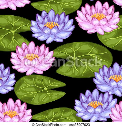 Naturel Lotus Modèle Feuilles Seamless Fleurs