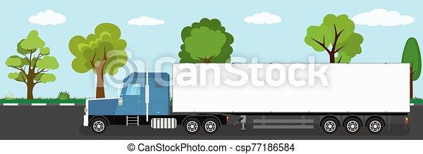 naturel, route, caravane véhicule, camion, paysage, long, fond - csp77186584