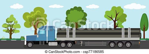 naturel, route, caravane véhicule, camion, paysage, long, fond - csp77186585